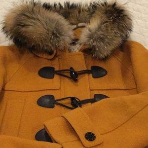 Burberry US 10 fur hood  toggle jacket